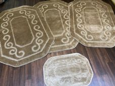 ROMANY WASHABLES 100CMX140CM SETS OF 4 (XLARGE) NON SLIP THICK RUGS BROWN/BEIGE